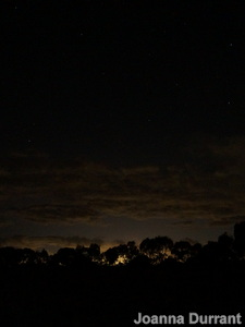Light pollution over the city of Melbourne